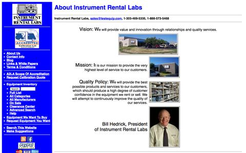 Screenshot of About Page testequip.com - About Instrument Rental Labs - captured Oct. 6, 2014