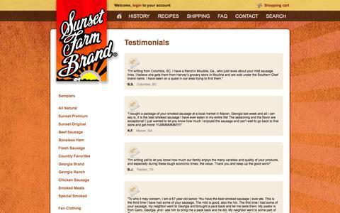 Screenshot of Testimonials Page sunsetfarmfoods.com - Testimonials - Sunset Farm Foods - captured Oct. 8, 2014