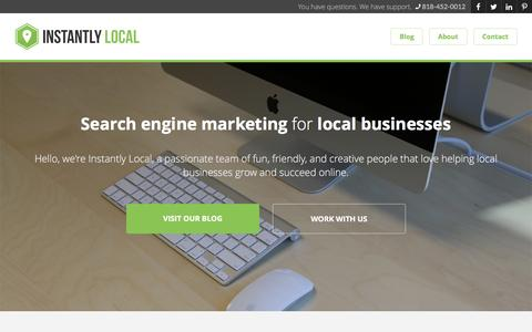 Screenshot of Home Page instantlylocal.com - Online Advertising For Local Businesses // Instantly Local - captured Jan. 8, 2016