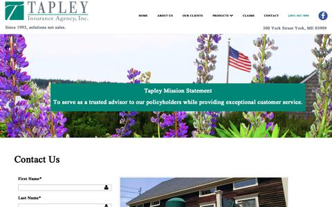 Screenshot of Contact Page tapleyagency.com - Contact An Insurance Agency Located In York Maine - captured Oct. 18, 2018
