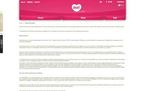 Screenshot of Terms Page melshoes.com - Terms and Conditions - captured Nov. 4, 2014