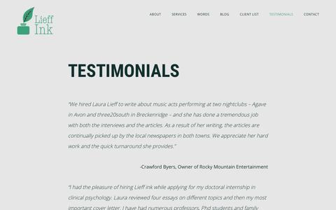 Screenshot of Testimonials Page lauralieff.com - Testimonials - Lieff Ink - captured Aug. 7, 2017