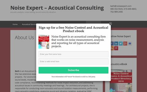Screenshot of About Page noiseexpert.com - About Us - Noise Expert – Acoustical Consulting - captured Feb. 17, 2016