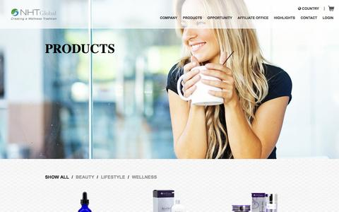 Screenshot of Products Page nhtglobal.com - Health and Wellness Products - NHT Global - captured Nov. 1, 2014