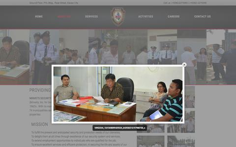 Screenshot of About Page minvetssecurityagency.com - Davao Security Agency | Minvets Security Agency in davao - captured March 13, 2016