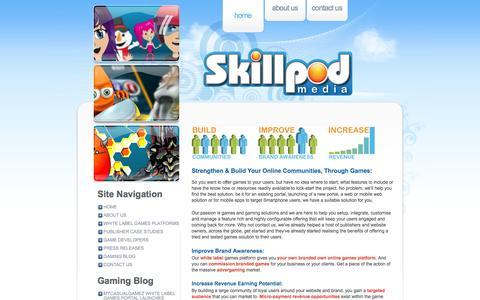 Screenshot of Home Page skillpodmedia.com - SkillPod Media – Online, Mobile Casual & Social Gaming Solutions, White Label Games Platforms - captured Sept. 17, 2014
