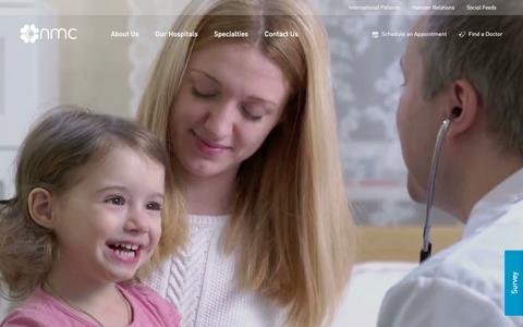 Screenshot of Home Page nmc.ae - NMC Healthcare | Every Patient Matters - captured Sept. 23, 2018