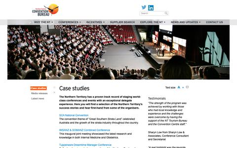 Screenshot of Case Studies Page ntconventions.com.au - Case studies - NT Conventions - captured Oct. 17, 2018
