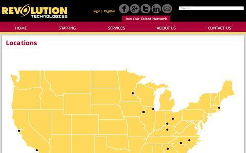 Screenshot of Locations Page revolutiontechnologies.com - RevTek Locations - Melbourne, Orlando, Atlanta, Chicago + 15 - captured Feb. 26, 2016