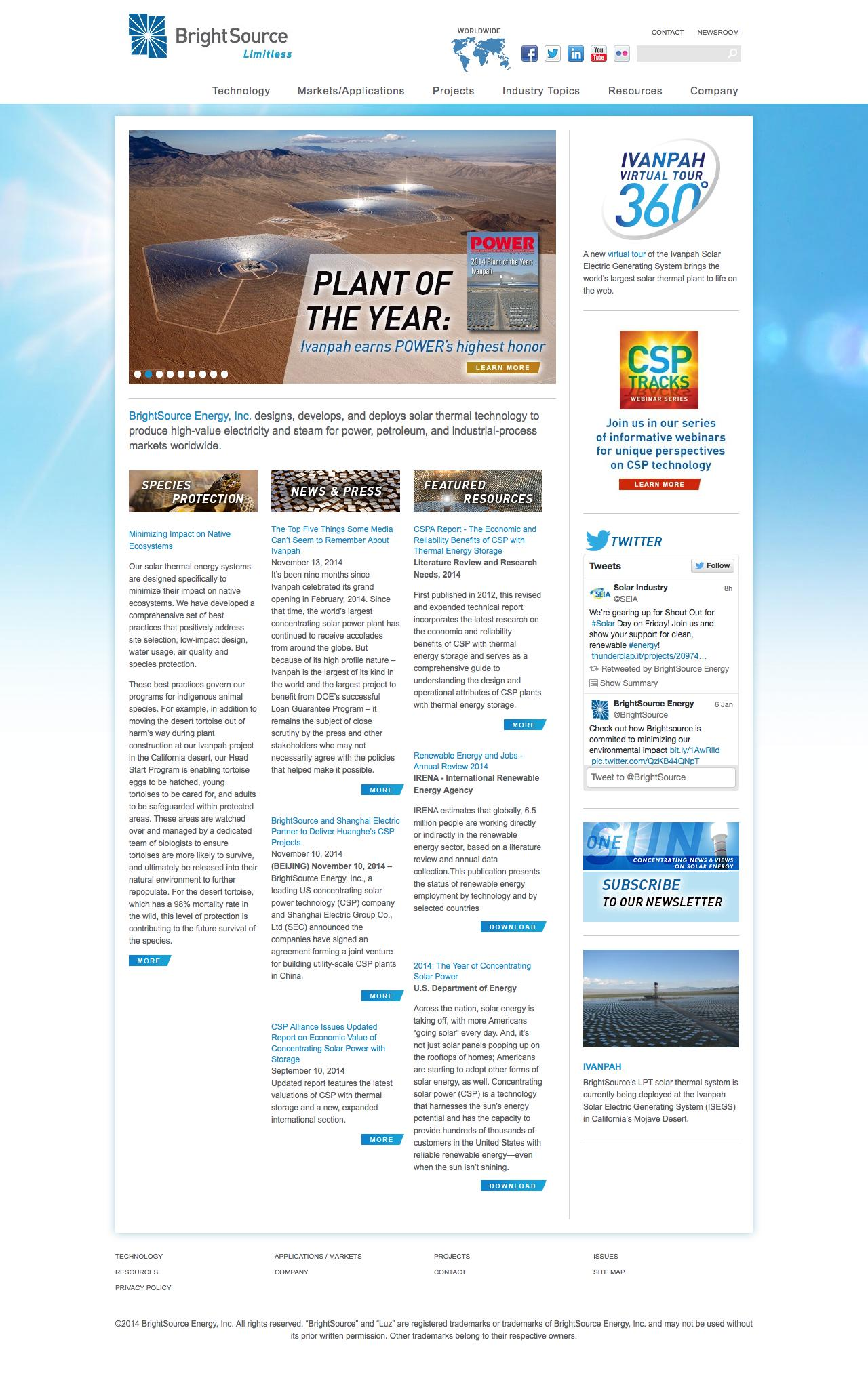 Screenshot of brightsourceenergy.com - BrightSource Energy | Concentrating Solar Power - captured Jan. 15, 2015