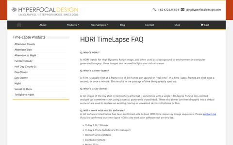 Screenshot of FAQ Page hyperfocaldesign.com - HDRI TimeLapse FAQ - Hyperfocal Design - captured Jan. 8, 2016