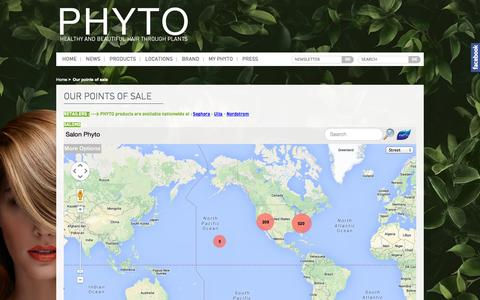 Screenshot of Locations Page phyto-usa.com - Our points of sale - captured Nov. 2, 2014