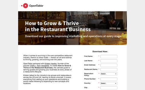 Screenshot of Landing Page opentable.com - Get the Guide to Building Your Restaurant Brand - captured Nov. 14, 2016