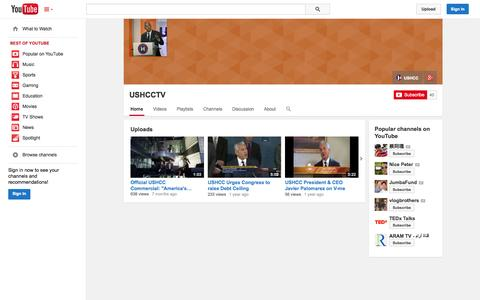 Screenshot of YouTube Page youtube.com - USHCCTV  - YouTube - captured Nov. 3, 2014