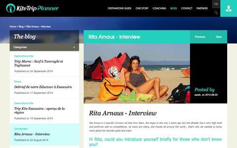Screenshot of Blog kitetrip-planner.com - Rita Arnaus - Interview - captured Oct. 6, 2014