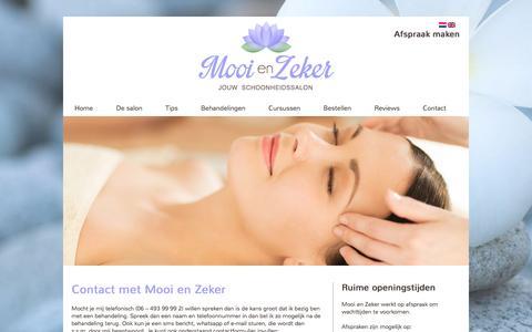 Screenshot of Contact Page mooienzeker.nl - Contact schoonheidssalon Mooi en Zeker - captured Nov. 29, 2016