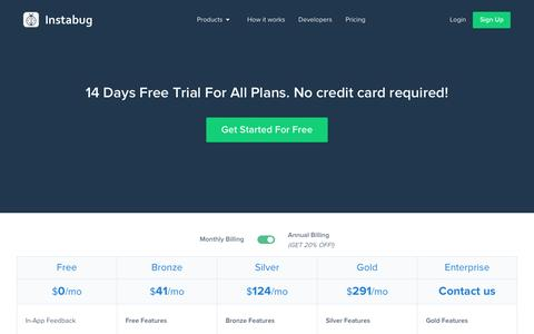 Screenshot of Pricing Page instabug.com - Pricing | Instabug - captured May 9, 2017