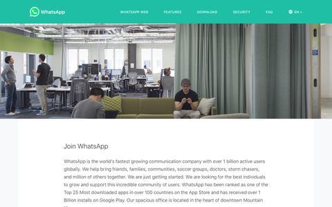 Screenshot of Jobs Page whatsapp.com - Join WhatsApp - captured Sept. 8, 2016