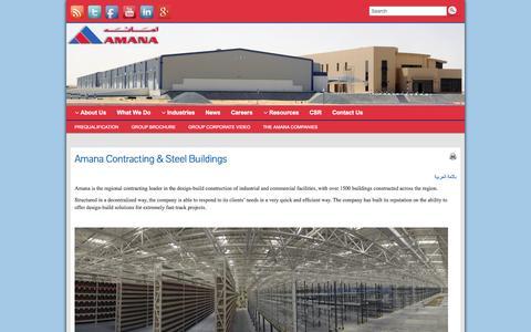 Screenshot of Home Page amanabuildings.com - Amana Contracting & Steel Buildings - Amana Contracting Group - captured Oct. 4, 2014