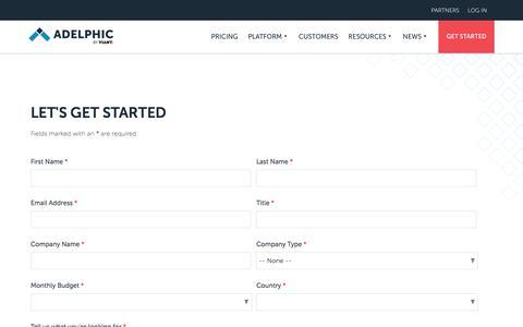 Screenshot of Trial Page adelphic.com - Get Started | Adelphic - captured Nov. 18, 2019
