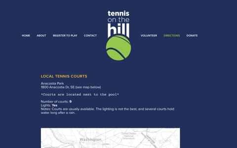 Screenshot of Maps & Directions Page tennisonthehill.org - Directions — Tennis on the Hill - captured Feb. 13, 2019
