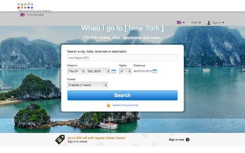 Screenshot of Home Page agoda.com - Agoda.com: Smarter Hotel Booking - captured Sept. 30, 2015