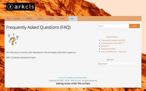 Screenshot of FAQ Page arkcls.com - Frequently Asked Questions (FAQ) | ARK CLS - captured Oct. 2, 2018