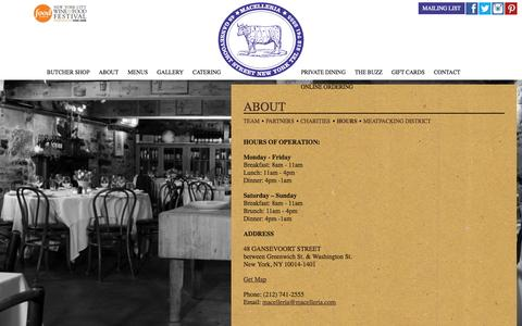 Screenshot of Hours Page macelleria.com - Macelleria Restaurant - captured Oct. 29, 2014