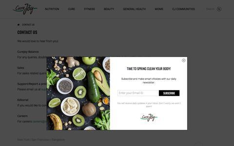 Screenshot of Contact Page curejoy.com - Contact us | CureJoy - captured Sept. 22, 2018