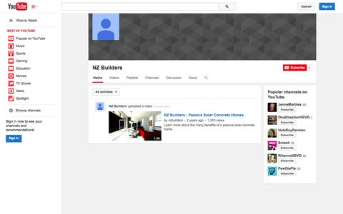Screenshot of YouTube Page youtube.com - NZ Builders  - YouTube - captured Oct. 26, 2014