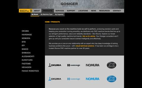 Screenshot of Products Page gosiger.com - CNC Machine tool brands carried by Gosiger - captured Sept. 23, 2014