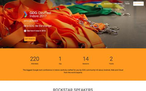 Screenshot of Home Page devfest-indore-2017.firebaseapp.com - GDG DevFest Indore 2017 - captured March 8, 2018