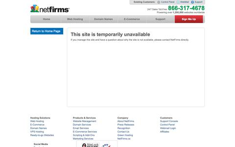 Screenshot of Home Page racks4records.com - Netfirms | This site is temporarily unavailable - captured Nov. 7, 2018