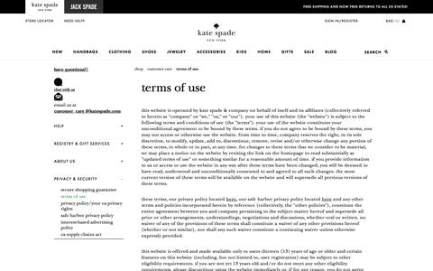Screenshot of Terms Page katespade.com - terms of use - captured Oct. 18, 2017