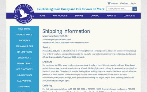 Screenshot of Terms Page pelicanbayltd.com - Pelican Bay LTD Shipping Information - captured July 12, 2016