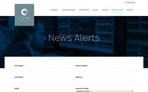 Screenshot of Signup Page curepharmaceutical.com - News Alerts - captured Sept. 26, 2018