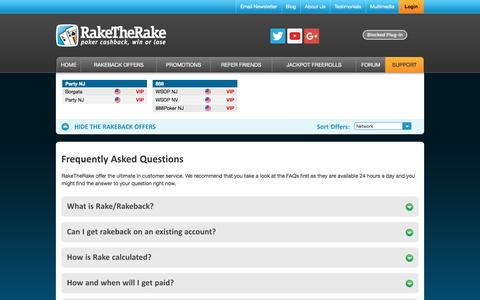 Screenshot of FAQ Page Support Page raketherake.com - RakeTheRake Frequently Asked Questions and Answers - captured June 19, 2017