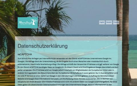 Screenshot of Privacy Page mbuyubeach.com - Datenschutz - Mbuyu Beach Bungalows, South Coast, Kenya - captured Oct. 4, 2017