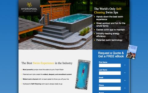 Screenshot of Landing Page hydropoolhottubs.com - Hydropool - Self Cleaning Hot Tubs - captured Oct. 27, 2014