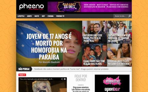 Screenshot of Home Page pheeno.com.br - Pheeno | A Diversidade é Pop - captured Sept. 22, 2014