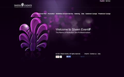 Screenshot of Home Page sheen-events.de - Sheen Events - The Name of Perfection and Professionalism - captured Sept. 30, 2014