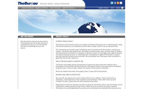 Screenshot of Privacy Page thebureau.com - The Bureau's privacy policy - captured Oct. 9, 2014