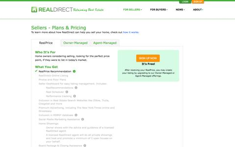 Screenshot of Pricing Page realdirect.com - RealDirect | Sellers - Plans & Pricing - captured Sept. 17, 2014