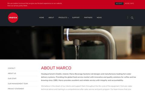 Screenshot of About Page marcobeveragesystems.com - About Us - Marco Beverage Systems Ltd. - captured Sept. 20, 2018