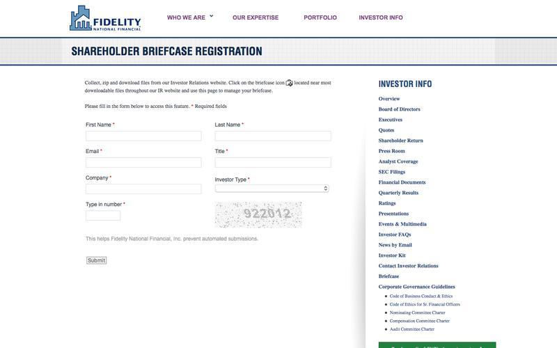 Fidelity National Financial, Inc. - Shareholder Briefcase Registration