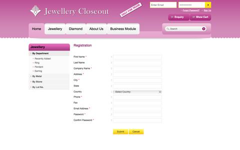 Screenshot of Signup Page jewellerycloseout.com - Jewellery Closeout - Your Online Jewellery Store - captured Oct. 6, 2014