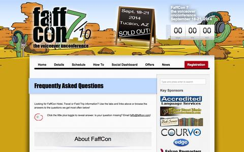 Screenshot of FAQ Page faffcon.com - FAQ | FaffCon: the voiceover unconference official site - captured Sept. 30, 2014