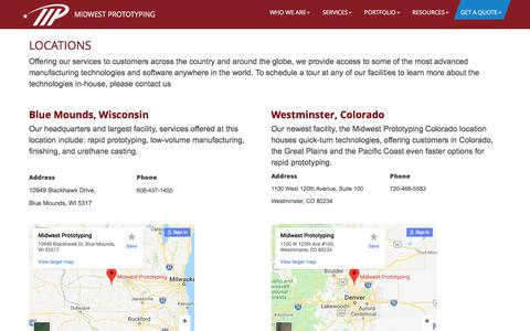 Screenshot of Locations Page midwestproto.com - Locations - Midwest Prototyping - captured July 20, 2018