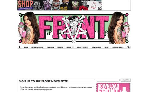 Screenshot of Signup Page frontarmy.com - Sign up to the FRONT newsletter - FRONT – The funniest, sexiest magazine on Earth | FRONT – The funniest, sexiest magazine on Earth - captured Oct. 27, 2014