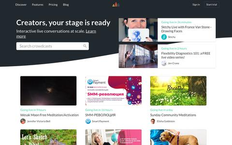 Screenshot of Home Page crowdcast.io - Discover - Crowdcast - captured May 18, 2019